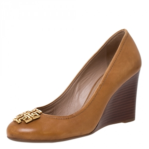 Tory Burch Brown Leather Logo Wedge Round Toe Pumps Size 37