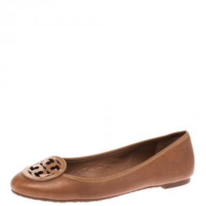 Tory Burch Brown Leather And Patent Logo Bow Ballet Flats Size 37