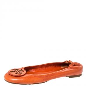 Tory Burch Orange Leather Reva Scrunch Ballet Flats Size 37