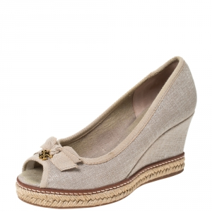 Tory Burch Beige Glitter Canvas Jackie Bow Espadrille Wedge Pumps Size 36
