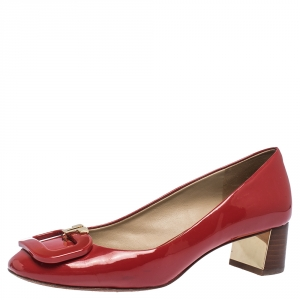 Tory Burch Red Patent Leather Block Heel Pumps Size 36.5