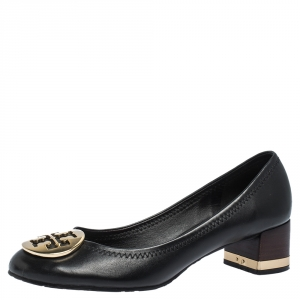 Tory Burch Black Leather Reva Block Heel Pumps Size 36.5