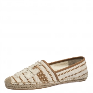 Tory Burch Beige/Brown Canvas Ines Espadrille Flats Size 38.5