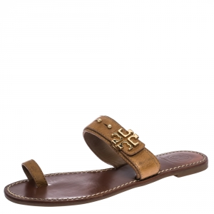 Tory Burch Brown Leather Logo Embellished Toe Ring Sandals Size 38