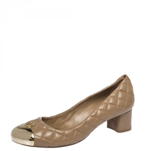 Tory Burch Beige Quilted Leather Kaitlin Cap Toe Pumps Size 38