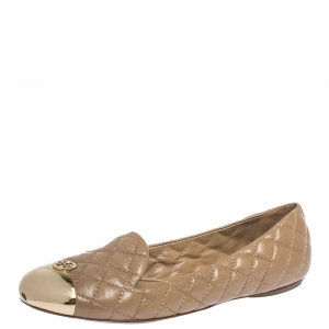Tory Burch Beige Quilted Leather Kaitlin Metal Cap Toe Ballet Flats Size 37.5
