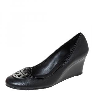 Tory Burch Black Leather Reva Logo Wedge Pumps Size 38