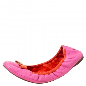 Tory Burch Pink Leather Scrunch Bow Ballet Flats Size 41