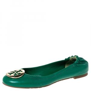Tory Burch Green Leather Logo Minnie Ballet Flats Size 37.5