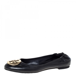 Tory Burch Black Leather Reva Ballet Flats Size 37.5