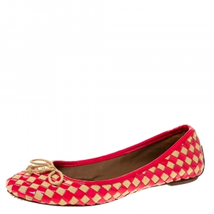 Tory Burch Neon Pink/Beige Prescot Woven Leather Ballet Flats Size 39.5 - used