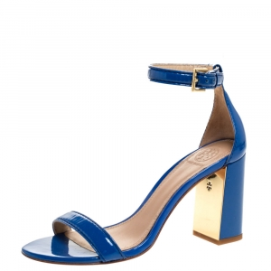 Tory Burch Blue Patent Leather Cecile Block Heel Ankle Strap Sandals Size 37 - used