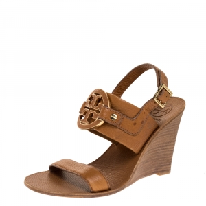 Tory Burch Brown Textured Leather Amanda High Wedge Sandals Size 37 - used