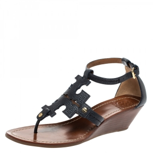 Tory Burch Navy Blue Leather Phoebe Thong Ankle Strap Wedge Sandals Size 39.5 - used