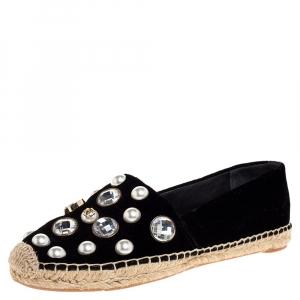 Tory Burch Black Velvet Crystal Embellished Vail Espadrille Flat Size 38 - used