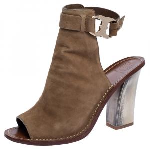 Tory Burch Beige Suede Open Toe Gemini Link Slingback Open Toe Sandals Size 38.5 - used