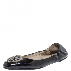 Tory Burch Black Patent Leather Twiggie Scrunch Ballet Flats Size 38.5 - used