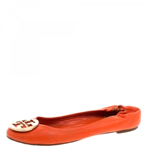 Tory Burch Orange Leather Minnie Scrunch Ballet Flats Size 39 - used