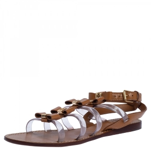 Tory Burch Brown Leather and PVC Kira Bow Detail Flat Sandals Size 36 - used