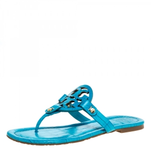 Tory Burch Blue Croc Embossed Leather Miller Flat Thong Sandals Size 36