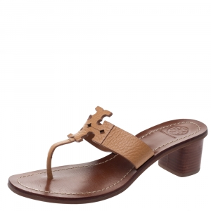 Tory Burch Brown Textured Leather Moore Thong Slide Sandals Size 37 - used