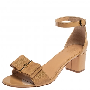 Tory Burch Beige Patent Leather And Canvas Bow Block Heel Ankle Strap Sandals Size 39
