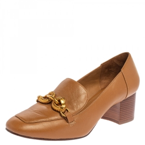 حذاء كعب عالي توري برش لوفر كعب عريض جسا جلد بني مقاس 37.5