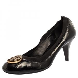 حذاء كعب عالي توري برش مقدمة مستديرة جلد أسود مقاس 40