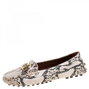Tory Burch Beige/Brown Python Effect Leather Kendrick Driving Loafers Size 36