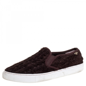 Tory Burch Dark Brown Fabric Rosette Slip On Sneakers Size 40.5 - used