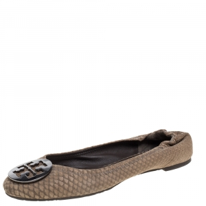 Tory Burch Brown Python Embossed Leather Reva Ballet Flats Size 39.5