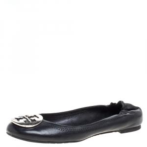 Tory Burch Black Leather Minnie Scrunch Ballet Flats Size 36.5