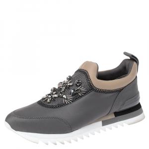 Tory Burch Grey Neoprene Storm Cloud Crystal Embellished Mesh Paneled Slip On Sneakers Size 38 - used