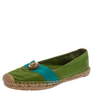 Tory Burch Green/Blue Canvas Beacher Espadrille Flats Size 35.5