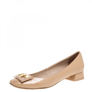 Tory Burch Beige Patent Leather Gigi Ballet Flats Size 35 - used