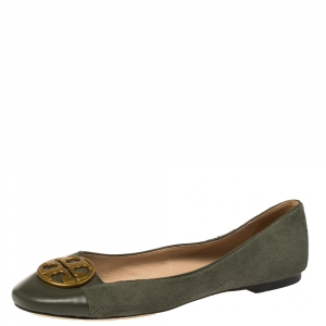 Tory Burch Green Calfhair and Leather Benton Ballet Flats Size 37