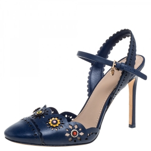 Tory Burch Blue Leather Floral Appliquéd Scalloped Marguerite Sandals Size 37.5 - used