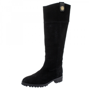 Tory Burch Black Suede Mid Calf Boots Size 37.5