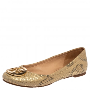 Tory Burch Gold/Beige Python Print Leather Reva Ballet Flats Size 37.5 - used