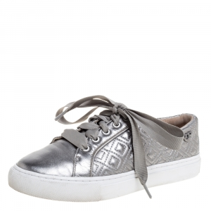 Tory Burch Metallic Grey Marion Quilted Leather Low Top Sneakers Size 35.5