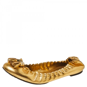 Tory Burch Metallic Gold Leather Tassel Scrunch Ballet Flats Size 39.5 - used