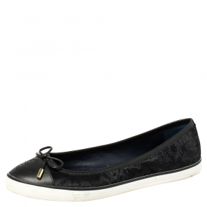 Tory Burch Black Calf Hair And Leather Cap Toe Skyler Flats Size 38.5 - used