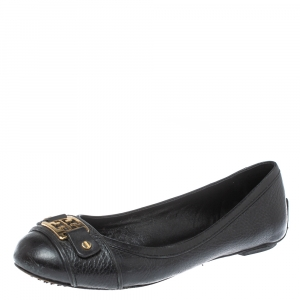 Tory Burch Black Leather Logo Ballet Flats Size 37.5 - used