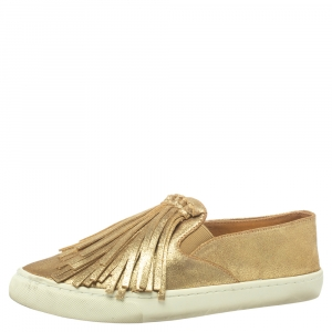 Tory Burch Gold Leather Fria Slip on Sneakers Size 38 - used