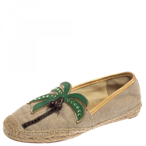 Tory Burch Beige Canvas And Jute Castaway Flat Espadrilles Size 37 - used