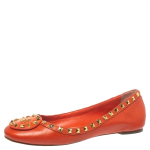 Tory Burch Orange Leather Studded Ballet Flats Size 40 - used