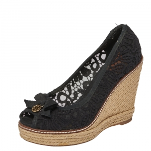 Tory Burch Black Lace And Canvas Trim Bow Wedge Espadrille Pumps Size 37