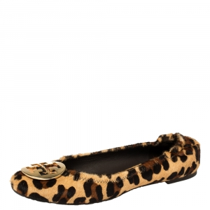 Tory Burch Beige Leopard Print Calf Hair Reva Ballet Flats Size 39 - used