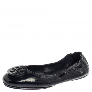 Tory Burch Black Patent Leather Reva Scrunch Ballet Flats Size 39.5 - used