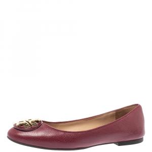 Tory Burch Burgundy Leather Reva Ballet Flats Size 35.5